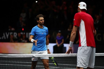 John Isner of Team World shakes hands after winning his mens singles match against Rafael Nadal of Team Europe on the final day of the Laver cup on September 24, 2017 in Prague, Czech Republic. The Laver Cup consists of six European players competing against their counterparts from the rest of the World. Europe will be captained by Bjorn Borg and John McEnroe will captain the Rest of the World team. The event runs from 22-24 September. (Sept. 23, 2017 - Source: Clive Brunskill/Getty Images Europe)