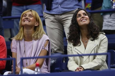 Ana Maria Parera and Xisca Perello celebrate Rafael Nadal of Spain defeating Andrey Rublev of Russia after their Men's Singles Quarterfinal match on Day Ten of the 2017 US Open at the USTA Billie Jean King National Tennis Center on September 6, 2017 in the Flushing neighborhood of the Queens borough of New York City. (Sept. 5, 2017 - Source: Clive Brunskill/Getty Images North America)