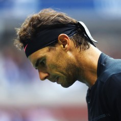 Rafael Nadal of Spain reacts against Kevin Anderson of South Africa during their Men's Singles finals match on Day Fourteen of the 2017 US Open at the USTA Billie Jean King National Tennis Center on September 10, 2017 in the Flushing neighborhood of the Queens borough of New York City. (Sept. 9, 2017 - Source: Matthew Stockman/Getty Images North America)
