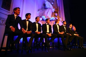 Team Europe line up on stage during the Laver Cup gala dinner ahead of the Laver Cup on September 21, 2017 in Prague, Czech Republic. The Laver Cup consists of six European players competing against their counterparts from the rest of the World. Europe will be captained by Bjorn Borg and John McEnroe will captain the Rest of the World team. The event runs from 22-24 September. (Sept. 20, 2017 - Source: Clive Brunskill/Getty Images Europe)
