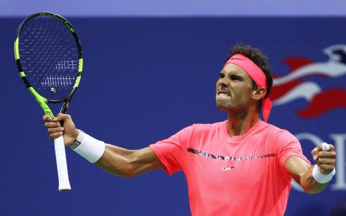 Rafael Nadal of Spain reacts against Leonardo Mayer of Argentina during their third round Men's Singles match on Day Six of the 2017 US Open at the USTA Billie Jean King National Tennis Center on September 2, 2017 in the Flushing neighborhood of the Queens borough of New York City. (Sept. 1, 2017 - Source: Clive Brunskill/Getty Images North America)