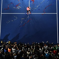 Spain's Rafael Nadal poses with his winning trophy after defeating South Africa's Kevin Anderson during their 2017 US Open Men's Singles final match at the USTA Billie Jean King National Tennis Center in New York on September 10, 2017..Rafael Nadal raced to a third US Open title and 16th Grand Slam crown on Sunday with a 6-3, 6-3, 6-4 rout of South African giant Kevin Anderson. / AFP PHOTO / Jewel SAMAD