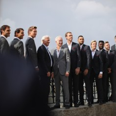 Team Europe and Team World pose for a photo during a photoshoot ahead of the Laver Cup on September 20, 2017 in Prague, Czech Republic. The Laver Cup consists of six European players competing against their counterparts from the rest of the World. Europe will be captained by Bjorn Borg and John McEnroe will captain the Rest of the World team. The event runs from 22-24 September. (Sept. 19, 2017 - Source: Julian Finney/Getty Images Europe)