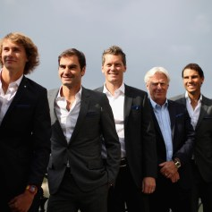 Marin Cilic of Croatia, Alexander Zverev of Germany, Roger Federer of Switzerland, Tomas Berdych of Czech Republic, Bjorn Borg of Sweden, Rafael Nadal of Spain and Dominic Thiem of Austria looks on during a photoshoot ahead of the Laver Cup on September 20, 2017 in Prague, Czech Republic. The Laver Cup consists of six European players competing against their counterparts from the rest of the World. Europe will be captained by Bjorn Borg and John McEnroe will captain the Rest of the World team. The event runs from 22-24 September. (Sept. 19, 2017 - Source: Julian Finney/Getty Images Europe)
