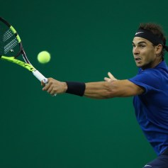 Rafael Nadal of Spain returns a shot during the Men's singles Semifinal mach against Marin Cilic of Coratia on day seven of 2017 ATP Shanghai Rolex Masters at Qizhong Stadium on October 14, 2017 in Shanghai, China. (Oct. 13, 2017 - Source: Lintao Zhang/Getty Images AsiaPac)