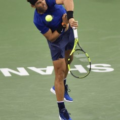 Rafael Nadal of Spain serves during the Men's Single Semi-Final match between Rafael Nadal of Spain and Marin Cilic of Croatia on Day 7 of 2017 ATP 1000 Shanghai Rolex Masters on October 14, 2017 at Qizhong Stadium in Shanghai, China. (Oct. 13, 2017 - Source: Kevin Lee/Getty Images AsiaPac)