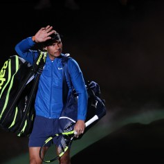 Rafael Nadal of Spain enters the tennis court during the Men's singles final mach against Roger Federer of Switzerland on day eight of 2017 ATP Shanghai Rolex Masters at Qizhong Stadium on October 15, 2017 in Shanghai, China. (Oct. 14, 2017 - Source: Lintao Zhang/Getty Images AsiaPac)