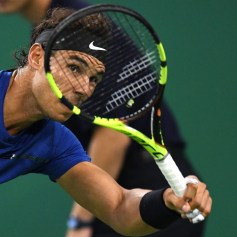 Rafael Nadal of Spain hits a return during his men's 2nd round singles match against Jared Donaldson of the US at the Shanghai Masters tennis tournament in Shanghai on October 11, 2017. / AFP PHOTO / NICOLAS ASFOURI (Oct. 10, 2017 - Source: AFP)