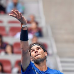 Rafael Nadal of Spain serves during his Men's singles quarterfinal match against John Isner of the United States on day seven of the 2017 China Open at the China National Tennis Centre on October 6, 2017 in Beijing, China. (Oct. 5, 2017 - Source: Etienne Oliveau/Getty Images AsiaPac)