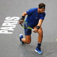 Rafael Nadal of Spain returns a backhand against Pablo Cuevas of Uraguay during Day 4 of the Rolex Paris Masters held at the AccorHotels Arena on November 2, 2017 in Paris, France. (Nov. 1, 2017 - Source: Dean Mouhtaropoulos/Getty Images Europe)
