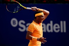 Spain's Rafael Nadal reacts as he beats Belgium's David Goffin during their Barcelona Open ATP tournament semi-final tennis match in Barcelona on April 28, 2018. (Photo by Josep LAGO / AFP) (Photo credit should read JOSEP LAGO/AFP/Getty Images)