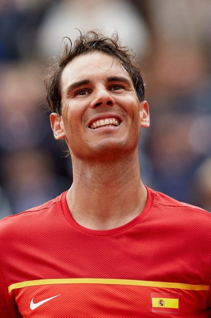 Rafael Nadal of Spain celebrates the victory in his match against Philipp Kohlschreiber of Germany during day one of the Davis Cup World Group Quarter Finals match between Spain and Germany at Plaza de Toros de Valencia on April 6, 2018 in Valencia, Spain (Photo by David Aliaga/NurPhoto via Getty Images)