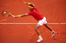 VALENCIA, SPAIN - APRIL 06: Rafael Nadal of Spain in action against Philipp Kohlschreiber of Germany during day one of the Davis Cup World Group Quarter Final match between Spain and Germany at Plaza de Toros de Valencia on April 6, 2018 in Valencia, Spain. (Photo by Manuel Queimadelos Alonso/Getty Images)