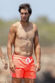 Shirtless Rafael Nadal joined by friends on holiday in Spain 2018 (7)