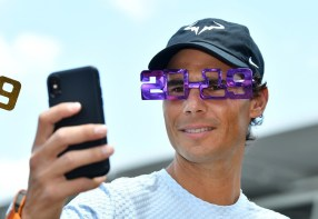 Rafael Nadal of Spain wears 2019 novelty glasses during day one of the Brisbane International tennis tournament at the Queensland Tennis Centre in Brisbane, Australia, 31 December 2018. EPA-EFE/ EDITORIAL USE ONLY AUSTRALIA AND NEW ZEALAND OUT, Image: 404799192, License: Rights-managed, Restrictions: EDITORIAL USE ONLY AUSTRALIA AND NEW ZEALAND OUT, Model Release: no, Credit line: Profimedia, TEMP EPA