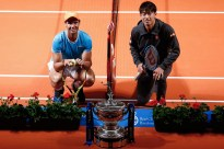 Spain's Rafael Nadal (L) poses with Japan's Kei Nishikori at the Palau de la Musica in Barcelona on April 22, 2019 on the sidelines of the Barcelona ATP Open tennis tournament. (Photo by PAU BARRENA / AFP) (Photo credit should read PAU BARRENA/AFP/Getty Images)