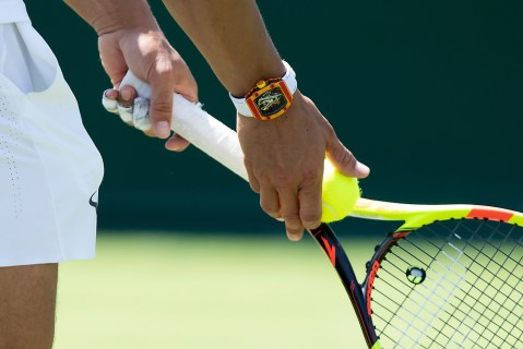 29th June 2019, The All England Lawn Tennis and Croquet Club, Wimbledon, London, England; Wimbledon Tennis tournament preview day; Detail view of the $725,000 Richard Mille watch worn by Rafael Nadal (ESP), Image: 452517464, License: Rights-managed, Restrictions: , Model Release: no, Credit line: Profimedia, Actionplus
