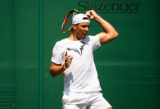 LONDON, ENGLAND - JUNE 29: Rafael Nadal of Spain practices before the start of The Championships - Wimbledon 2019 at All England Lawn Tennis and Croquet Club on June 29, 2019 in London, England. (Photo by TPN/Getty Images)