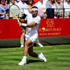 LONDON, ENGLAND - JUNE 28: Rafael Nadal of Spain plays a backhand during his men's singles exhibition match against Lucas Pouille of France during the Aspall Tennis Classic at the Hurlingham Club on June 28, 2019 in London, England. (Photo by Alex Burstow/Getty Images)