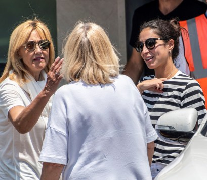 epa07638796 Spanish tennis player Rafael Nadal's girlfriend Meri 'Xisca' Perello (R) and mother Ana Maria Parera (L) upon their arrival in Palma de Mallorca one day after Nadal's win in the French Open tennis tournament at Roland Garros, in Balearic Islands, Spain, 10 June 2019. Nadal has won his 12th French Open title after defeating Austrian Dominic Thiem in the men's final held on 09 June 2019. EPA-EFE/CATI CLADERA