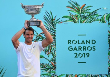 Rafael Nadal of Spain poses with the trophy after winning the men's singles final match against Dominic Thiem (not seen) of Austria at the French Open tennis tournament at Roland Garros Stadium in Paris, France on June 09, 2019., Image: 445469585, License: Rights-managed, Restrictions: , Model Release: no, Credit line: Profimedia, Abaca Press