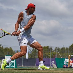 PALMA DE MALLORCA, SPAIN - JUNE 21: Rafael Nadal of Spain in a practice session during day five of the WTA Mallorca Open at Country Club Santa Ponsa on June 21, 2019 in Mallorca, Spain. Rafael Nadal held his practice after winning Roland Garros. He starts preparing for Wimbledon. on June 21, 2019 in Palma de Mallorca, Spain. (Photo by Quality Sport Images/Getty Images)