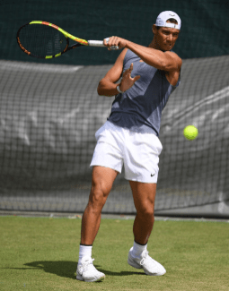 LONDON, ENGLAND - JUNE 30: Rafael Nadal of Spain during a practice session ahead of The Championships - Wimbledon 2019 at All England Lawn Tennis and Croquet Club on June 30, 2019 in London, England. (Photo by Matthias Hangst/Getty Images)