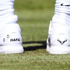 epa07680259 The shoes of Spain's Rafael Nadal during his match against France's Lucas Pouille at the Aspall Classic tennis at the Hurlingham club in London, Britain, 28 June 2019. EPA-EFE/FACUNDO ARRIZABALAGA