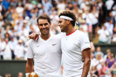 LONDON, ENGLAND - JULY 06: Rafael Nadal(L) of Spain greets Jo-Wilfred Tsonga of France after their Men's Singles third round match during Day six of The Championships - Wimbledon 2019 at All England Lawn Tennis and Croquet Club on July 06, 2019 in London, England. (Photo by Shi Tang/Getty Images)