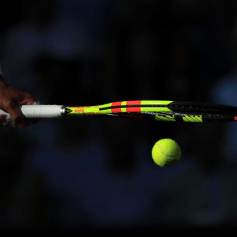 LONDON, ENGLAND - JULY 12: Rafael Nadal (ESP) bounces the ball on his racket during his Gentlemen's Singles Semi Final match against Roger Federer (SUI) on Day 11 of The Championships - Wimbledon 2019 at the All England Lawn Tennis and Croquet Club on July 12, 2019 in London, England. (Photo by Simon Stacpoole/Offside/Getty Images)
