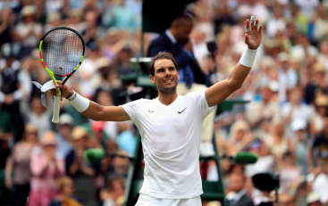 Rafael Nadal celebrates beating Joao Sousa on day seven of the Wimbledon Championships at the All England Lawn Tennis and Croquet Club, Wimbledon. (Photo by Adam Davy/PA Images via Getty Images)