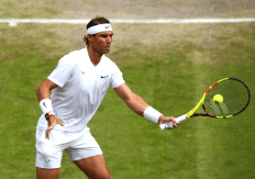 LONDON, ENGLAND - JULY 10: Rafael Nadal of Spain plays a forehand in his Men's Quarter Final match against Sam Querrey of the United States during Day Nine of The Championships - Wimbledon 2019 at All England Lawn Tennis and Croquet Club on July 10, 2019 in London, England. (Photo by Clive Brunskill/Getty Images)