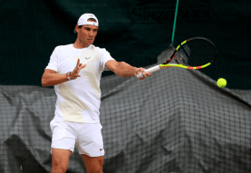 Rafael Nadal during a practice session on day eight of the Wimbledon Championships at the All England Lawn Tennis and Croquet Club, Wimbledon. (Photo by Mike Egerton/PA Images via Getty Images)