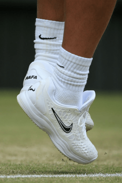 LONDON, ENGLAND - JULY 06: The shoes of Rafael Nadal (ESP) are seen in action against Jo-Wilfried Tsonga (FRA) during their Gentlemen's Singles 3rd Round match on Day 6 of The Championships - Wimbledon 2019 at the All England Lawn Tennis and Croquet Club on July 6, 2019 in London, England. (Photo by Simon Stacpoole/Offside/Getty Images)