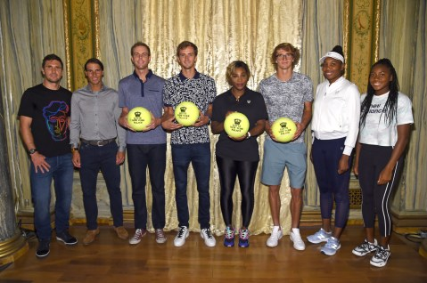 "NEW YORK, NEW YORK - AUGUST 22: (L-R) Mischa Zverev, Rafael Nadal, Sam Querrey, Daniil Medvedev, Serena Williams, Alexander Zverev, Venus Williams and Cori ""Coco"" Gauff attend the 2019 Palace Invitational at Lotte New York Palace on August 22, 2019 in New York City. (Photo by Jamie McCarthy/Getty Images for Lotte New York Palace)"