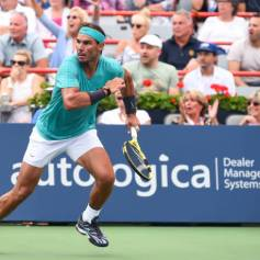 MONTREAL, QC - AUGUST 07: Rafael Nadal of Spain runs across the court against Daniel Evans of Great Britain during day 6 of the Rogers Cup at IGA Stadium on August 7, 2019 in Montreal, Quebec, Canada. (Photo by Minas Panagiotakis/Getty Images)