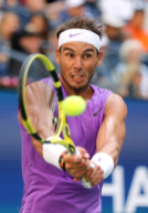 NEW YORK, NEW YORK - AUGUST 31: Rafael Nadal of Spain returns a shot during his Men's Singles third round match against Hyeon Chung of South Korea on day six of the 2019 US Open at the USTA Billie Jean King National Tennis Center on August 31, 2019 in Queens borough of New York City. (Photo by Elsa/Getty Images)