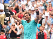 MONTREAL, QC - AUGUST 11: Rafael Nadal of Spain celebrates his 6-3, 6-0 victory over Daniil Medvedev of Russia during the mens singles final on day 10 of the Rogers Cup at IGA Stadium on August 11, 2019 in Montreal, Quebec, Canada. (Photo by Minas Panagiotakis/Getty Images)