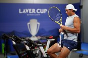 GENEVA, SWITZERLAND - SEPTEMBER 19: Rafael Nadal of Team Europe warms up prior to a practice session ahead of the Laver Cup 2019 at Palexpo on September 19, 2019 in Geneva, Switzerland. The Laver Cup will see six players from the rest of the World competing against their counterparts from Europe. Team World is captained by John McEnroe and Team Europe is captained by Bjorn Borg. The tournament runs from September 20-22. (Photo by Clive Brunskill/Getty Images for Laver Cup)