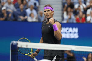NEW YORK, NEW YORK - SEPTEMBER 08: Rafael Nadal of Spain celebrates a point during the third set of his Men's Singles final match against Daniil Medvedev of Russia on day fourteen of the 2019 US Open at the USTA Billie Jean King National Tennis Center on September 08, 2019 in the Queens borough of New York City. (Photo by Al Bello/Getty Images)