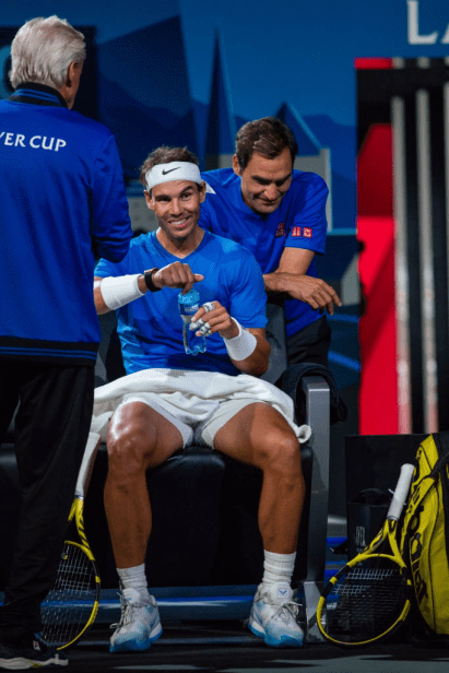 GENEVA, SWITZERLAND - SEPTEMBER 21: Rafael Nadal and Roger Federer of Team Europe reacts during Day 2 of the Laver Cup 2019 at Palexpo on September 21, 2019 in Geneva, Switzerland. The Laver Cup will see six players from the rest of the World competing against their counterparts from Europe. Team World is captained by John McEnroe and Team Europe is captained by Bjorn Borg. The tournament runs from September 20-22. (Photo by RvS.Media/Monika Majer/Getty Images)