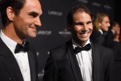 GENEVA, SWITZERLAND - SEPTEMBER 19: Roger Federer and Rafael Nadal (R) attends the Laver Cup Gala at HEAD Geneve prior to the Laver Cup 2019 at Palexpo on September 19, 2019 in Geneva, Switzerland. The Laver Cup will see six players from the rest of the World competing against their counterparts from Europe. Team World is captained by John McEnroe and Team Europe is captained by Bjorn Borg. The tournament runs from September 20-22 (Photo by Ian Gavan/Getty Images for Laver Cup)