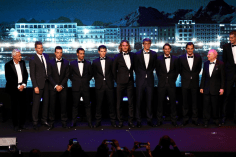 GENEVA, SWITZERLAND - SEPTEMBER 19: Rod Laver and Team Europe pose for a photo on the stage after being presented to the crowd during the Laver Cup Gala at HEAD Geneve ahead of the Laver Cup 2019 at Palexpo on September 19, 2019 in Geneva, Switzerland. The Laver Cup will see six players from the rest of the World competing against their counterparts from Europe. Team World is captained by John McEnroe and Team Europe is captained by Bjorn Borg. The tournament runs from September 20-22. (Photo by Julian Finney/Getty Images for Laver Cup)
