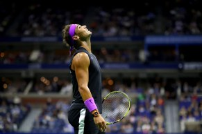 NEW YORK, NEW YORK - SEPTEMBER 06: Rafael Nadal of Spain reacts during his Men's Singles semi-final match against Matteo Berrettini of Italy on day twelve of the 2019 US Open at the USTA Billie Jean King National Tennis Center on September 06, 2019 in the Queens borough of New York City. (Photo by Clive Brunskill/Getty Images)