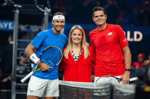GENEVA, SWITZERLAND - SEPTEMBER 21: Rafael Nadal of Team Europe and Milos Raonic of Team World poses for photo during Day 2 of the Laver Cup 2019 at Palexpo on September 21, 2019 in Geneva, Switzerland. The Laver Cup will see six players from the rest of the World competing against their counterparts from Europe. Team World is captained by John McEnroe and Team Europe is captained by Bjorn Borg. The tournament runs from September 20-22. (Photo by RvS.Media/Monika Majer/Getty Images)