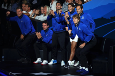 GENEVA, SWITZERLAND - SEPTEMBER 20: Team Europe celebrate from the courtside in the singles match between Dominic Thiem of Team Europe and Denis Shapovalov of Team World during Day One of the Laver Cup 2019 at Palexpo on September 20, 2019 in Geneva, Switzerland. The Laver Cup will see six players from the rest of the World competing against their counterparts from Europe. Team World is captained by John McEnroe and Team Europe is captained by Bjorn Borg. The tournament runs from September 20-22. (Photo by Julian Finney/Getty Images for Laver Cup)