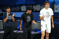 GENEVA, SWITZERLAND - SEPTEMBER 22: Fabio Fognini, Rafael Nadal and Alexander Zverev of Team Europe react in the singles match between Dominic Thiem of Team Europe and Taylor Fritz of Team World during Day Three of the Laver Cup 2019 at Palexpo on September 22, 2019 in Geneva, Switzerland. The Laver Cup will see six players from the rest of the World competing against their counterparts from Europe. Team World is captained by John McEnroe and Team Europe is captained by Bjorn Borg. The tournament runs from September 20-22. (Photo by Julian Finney/Getty Images for Laver Cup)