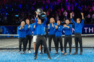 GENEVA, SWITZERLAND - SEPTEMBER 22: Rafael Nadal of Team Europe celebrates with the trophy after winning against Team World during Day 3 of the Laver Cup 2019 at Palexpo on September 20, 2019 in Geneva, Switzerland. The Laver Cup will see six players from the rest of the World competing against their counterparts from Europe. Team World is captained by John McEnroe and Team Europe is captained by Bjorn Borg. The tournament runs from September 20-22. (Photo by RvS.Media/Robert Hradil/Getty Images)