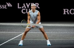 GENEVA, SWITZERLAND - SEPTEMBER 18: Rafael Nadal of Team Europe readies himself to receive during a practice session during previews ahead of the Laver Cup 2019 at Palexpo on September 18, 2019 in Geneva, Switzerland. The Laver Cup consists of six players from the rest of the World competing against their counterparts from Europe. John McEnroe will captain the Rest of the World team and Europe will be captained by Bjorn Borg. The event runs from 20-22 Sept. (Photo by Robert Hradil/Getty Images for Laver Cup)