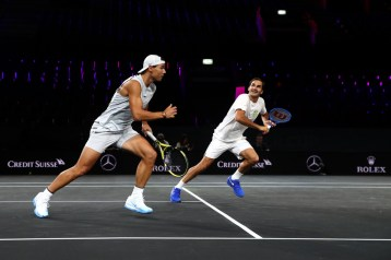 GENEVA, SWITZERLAND - SEPTEMBER 18: Rafael Nadal and Roger Federer of Team Europe in action during a practice session ahead of the Laver Cup 2019 at Palexpo, on September 18, 2019 in Geneva, Switzerland. (The Laver Cup consists of six players from the rest of the World competing against their counterparts from Europe. John McEnroe will captain the Rest of the World team and Europe will be captained by Bjorn Borg) The event runs from 20-22 Sept. (Photo by Julian Finney/Getty Images for Laver Cup)
